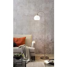SalesFever Stehlampe aus Metall mit Milchglas Metall, Glas Silber, Weiß 393871