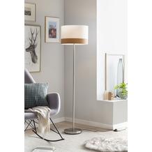 SalesFever Stehlampe rund weiß Ø 38 cm Metall, Stoff Weiß, Chrom, holzfarben 394007