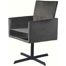 SalesFever Stuhl anthrazit Samt 2er Set 360° drehbar, mit Armlehnen, 100% Polyester