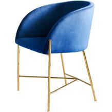 SalesFever Stuhl blau Samt mit Armlehnen 100% Polyester, Stuhlbeine in goldenem Messing