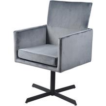 SalesFever Stuhl silbergrau Samt 2er Set 360° drehbar, mit Armlehnen, 100% Polyester