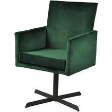 SalesFever Stuhl Tannengrün Samt 2er Set 360° drehbar, mit Armlehnen, 100% Polyester