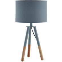 SalesFever Tischleuchte mit Holzgestell und Stoffschirm Grau / Eiche Holz, Textil Grau, Natur 373804