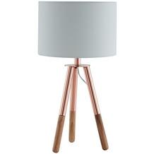SalesFever Tischleuchte mit Holzgestell und Stoffschirm Kupfer / Eiche Holz, Textil Kupfer, Natur, Weiß 373828