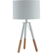 SalesFever Tischleuchte mit Holzgestell und Textilschirm Weiß / Eiche Holz, Textil Weiß, Natur 373781