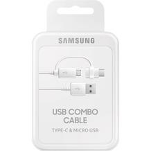 Samsung Datenkabel Micro-USB zu USB-A inkl USB-C Adapter, Weiß