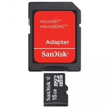 Sandisk Micro-SD Card 16GB Sandisk SDHC Class 4 2MBs mit Adapter