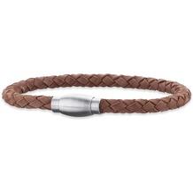 Save Brave Armband Edelstahl James geflochtenes Leder Braun 22411