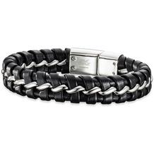 Save Brave Armband Edelstahl Lima geflochtenes Leder Schwarz 22409