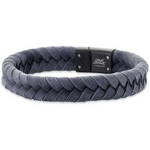 Save Brave Armband Edelstahl Ryan geflochtenes Leder Grau 22421