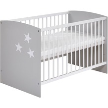 Schardt Classic Grey Bett 60x120 cm mit Sterne, grau / weiß