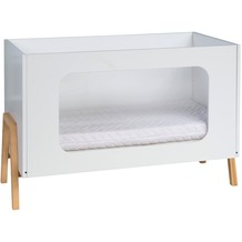 Schardt Holly Nature Kombi-Kinderbett 60x120 cm mit Plexiglasfüllung, weiß / natur