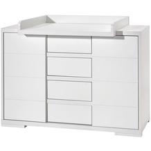Schardt Maxx White breite Wickelkommode 2 Türen, 4 Schübe, weiß