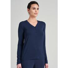Schiesser Damen Langarmshirt Knopfleiste blau 175478-800 34