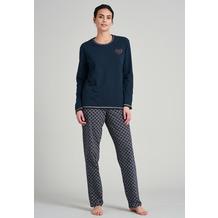Schiesser Damen Schlafanzug lang blauschwarz 175751-001 36