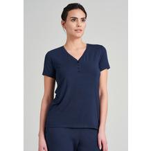 Schiesser Damen T-Shirt Knopfleiste blau 175476-800 34