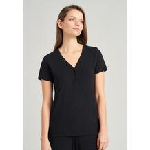 Schiesser Damen T-Shirt Knopfleiste schwarz 175476-000 34