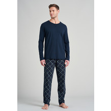 Schiesser Herren Schlafanzug lang blauschwarz 175754-001 48