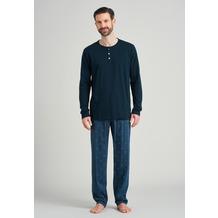 Schiesser Herren Schlafanzug lang jeansblau 175692-816 48