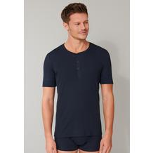 Schiesser Herren T-shirt Knopfleiste dunkelblau 174018-803 4
