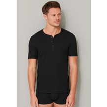 Schiesser Herren T-shirt Knopfleiste schwarz 174018-000 4