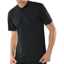 Schiesser Shirt kurzarm American T-Shirt V-Auschnitt Doppelpack schwarz 3XL