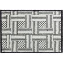 Schöner Wohnen Kollektion Fußmatte Manhattan Design 004, Farbe 004 Streifengitter silber 67 x 100 cm