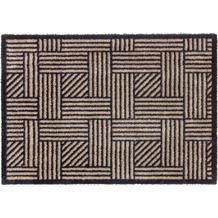 Schöner Wohnen Kollektion Fußmatte Manhattan Design 004, Farbe 006 Streifengitter beige/anthrazit 67 x 100 cm