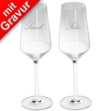 Schott Zwiesel 2 Champagnergläser MIT GRAVUR (z.B. Namen) Champagnerglas/Sektglas Pure mit Moussierpunkt