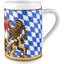 Seltmann Weiden Bierkrug ohne Deckel 408 Compact Bayern 27110 blau, gelb, rot/rosa