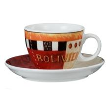 Seltmann Weiden Cappuccinotasse 1131 VIP Bolivien 23299 rot/rosa, orange, schwarz