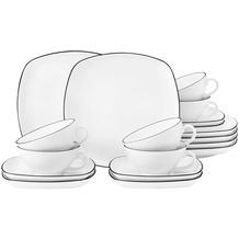 Seltmann Weiden Lido Teeservice für 6 Personen 18-teilig eckig groß schwarz