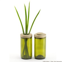 side by side Vase/Dose, Farbe: grün, Durchmesser 7,5 cm, Höhe 16,7 cm (Blumenvase, Vorratsdose, Glasdose, Glasvase)