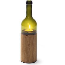 """side by side """"WeinLicht"""" Farbe: grün, Material: Eiche/Glas, Höhe 28 cm, Ø 7,5 cm (Windlicht, Teelichthalter)"""