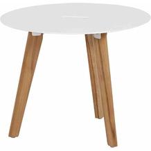Siena Garden Alba Beistelltisch Ø 50x40cm Gestell Teakholz natur Tischplatte Aluminium mattweiß pulverbeschichtet