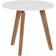Siena Garden Alba Beistelltisch Ø 50x45cm Gestell Teakholz natur Tischplatte Aluminium mattweiß pulverbeschichtet