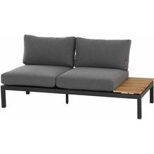 Siena Garden Alvida Modul 2-Sitzer Gestell Aluminium matt anthrazit, Fläche Ranotex®-Gewebe grau, inkl. Sitz- und Rückenkissen grau