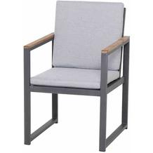 Siena Garden Campo Dining Sessel Gestell und Fläche Aluminium matt-graphit, inkl. Sitz- und Rückenkissen goose grey