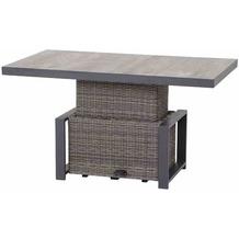 Siena Garden Corido Lifttisch 130x75x47/71 cm Gestell Aluminium matt-anthrazit, Fläche Gardino®-Geflecht charcoal grey, Tischplatte Keramik grey