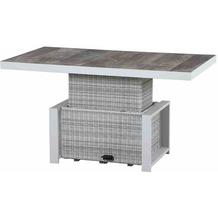 Siena Garden Corido Lifttisch 130x75x47/71 cm Gestell Aluminium matt weiß-grau, Fläche Gardino®-Geflecht ice grey