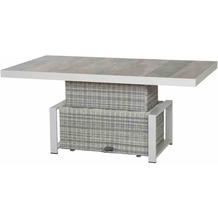 Siena Garden Corido Lifttisch 160x90x47/71 cm Gestell Aluminium matt weiß-grau, Fläche Gardino®-Geflecht ice grey, Tischplatte Keramik washed grey
