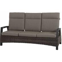 Siena Garden Corido Lounge 3er Sofa Gestell Alu matt-anthrazit, Gardino®-Geflecht charcoal grey, mit Sitz- u. Rückenkissen taupe meliert
