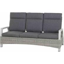 Siena Garden Corido Lounge 3er Sofa Gestell Alu matt-weiß-grau, Gardino®-Geflecht ice grey, inkl. Sitz- und Rückenkissen stone grey