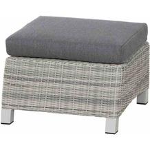 Siena Garden Corido Loungehocker Gestell Alu matt-weiß-grau, Gardino®-Geflecht ice grey, inkl. Sitz- und Rückenkissen stone grey