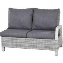 Siena Garden Corido Modul 2-Sitzer Gestell Alu matt-weiß-grau, Gardino®-Geflecht ice grey, inkl. Sitz- und Rückenkissen stone grey
