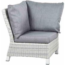 Siena Garden Corido Modul Ecke Gestell Alu matt-weiß-grau, Gardino®-Geflecht ice grey, inkl. Sitz- und Rückenkissen stone grey