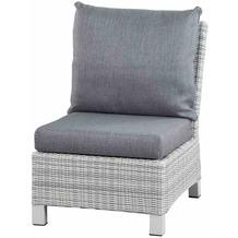 Siena Garden Corido Modul Mitte Gestell Alu matt-weiß-grau, Gardino®-Geflecht ice grey, inkl. Sitz- und Rückenkissen stone grey