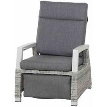 Siena Garden Corido Relax Loungesessel Gestell Alu matt-weiß-grau, Gardino®-Geflecht ice grey, inkl. Sitz- und Rückenkissen stone grey