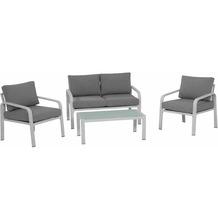 Siena Garden Dalia Loungeset, 4 tlg. Gestell Aluminium matt-weiß, Fläche Ranotex®-Textilgewebe hellgrau, inkl. Sitz- und Rückenkissen