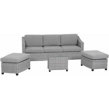 Siena Garden Mali Loungeset, 4 tlg. Gestell Aluminium grau, Fläche Gardino®-Geflecht structured grey
